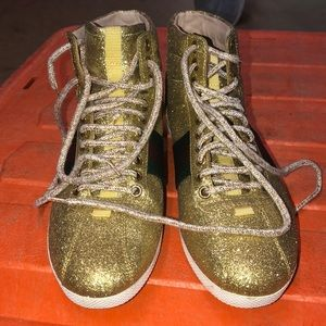 Women Gold Glitter Gucci's Tennis Shoes